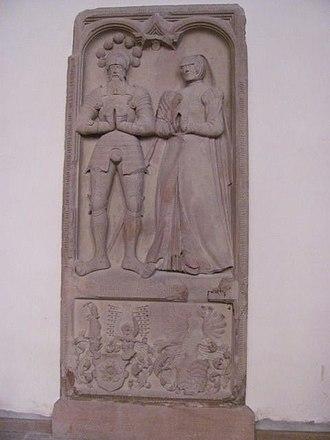 Johanna of Hanau-Lichtenberg, Countess of Eberstein -  Epitaph of Count William IV of Eberstein and his wife Countess Johanna of Hanau-Lichtenberg in the St. James Church in Gernsbach