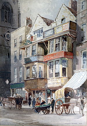 Ernest George - 1886 watercolour of Fleet Street by George, from a contemporary print