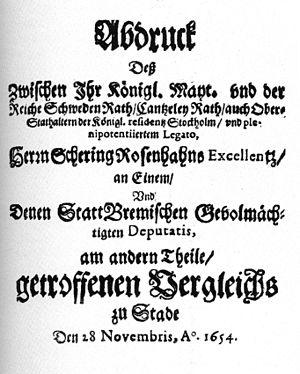 Swedish Wars on Bremen - Treaty of Stade, reprint