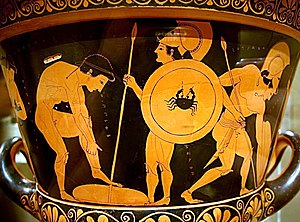 Euphronios Krater - Reverse side depicting Athenian youths arming themselves