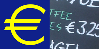 Euro sign - The euro sign; logotype and handwritten