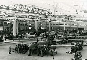 "Fábrica Argentina de Aviones - Late 1940s view of the FMA/IAe ""Hangar 90"" production line: I.Ae.22 DL (back) and I.Ae.24 Calquín (front)"