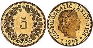 Rappen - The Swiss 5-rappen coin.