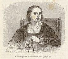 Illustration représentant Christophe Colomb lors de ses années d'étudiant, un compas à la main, à l'université de Pavie (Italie).