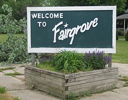 Fairgrove Michigan sign along M-138