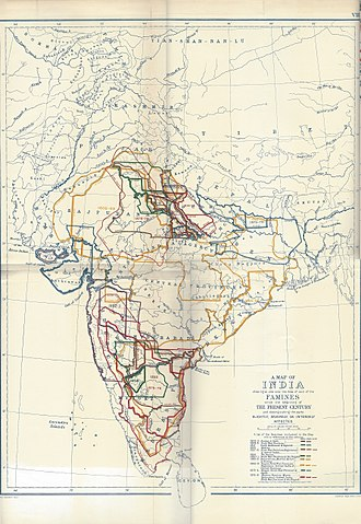 Timeline of major famines in India during British rule - Image: Famines Map Of India 1800 1885