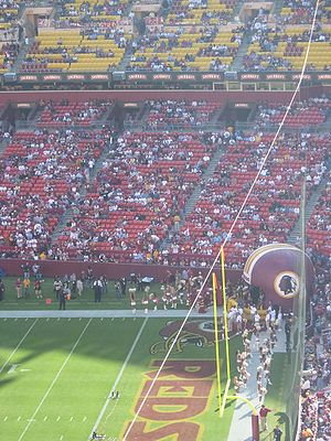 Native American mascot controversy - The Washington Redskins logo at FedEx Field, in Maryland