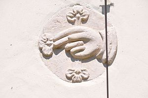 "English: Spolia ""blessing hand"" in t..."