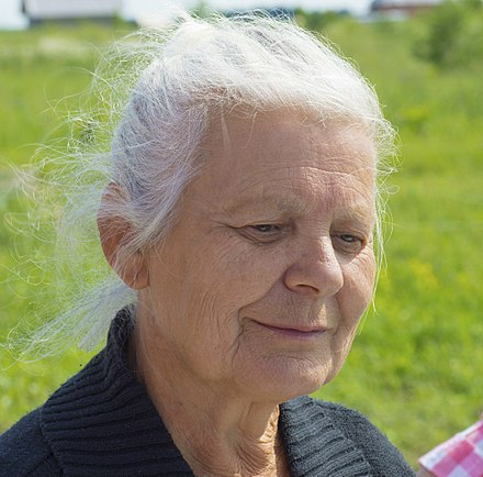 An elderly woman at a Ringing Cedars' settlement in Russia.