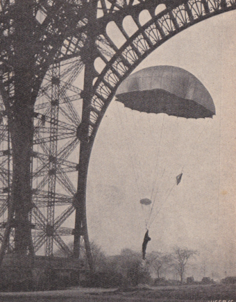 Picture published in a Dutch magazine De Prins der Geillustreerde Bladen (February 18, 1911). FirstParachute.png