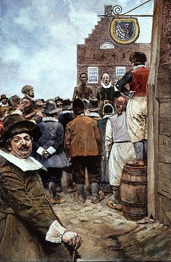 The first slave auction at New Amsterdam in 1655, illustration from 1895 by Howard Pyle First Slave Auction 1655 Howard Pyle.jpg