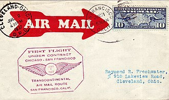 Boeing Model 40 - Cover flown from San Francisco to Chicago by a Model 40A operated by Boeing Air Transport on the first day US Transcontinental Air Mail under Contract. July 1, 1927