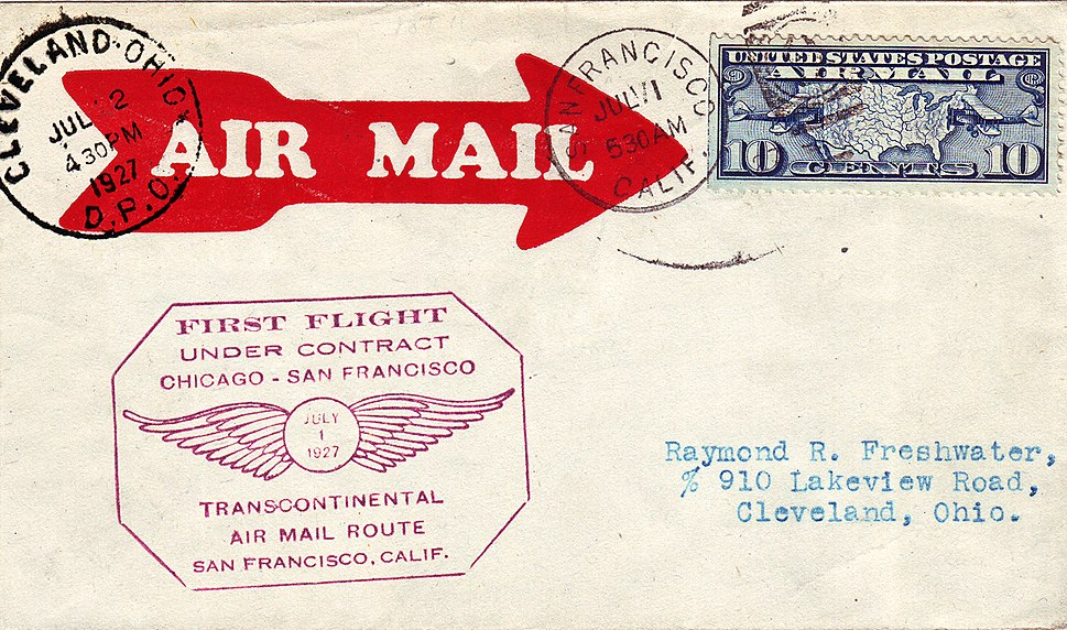 First Transcontinental US Air Mail under Contract 1927