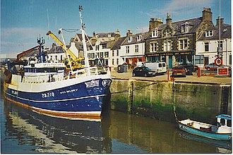 Macduff, Aberdeenshire - Image: Fishing boat in Macduff Harbour geograph.org.uk 106549