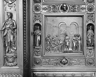 Columbus Doors - Image: Flickr US Capitol Columbus Before the Council of Salamanca (1487)