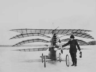 """Carl Richard Nyberg - C. R. Nyberg and his steam engine driven airplane """"Flugan"""" (The Fly), on the ice of Askrikefjärden north of Lidingö, Sweden."""