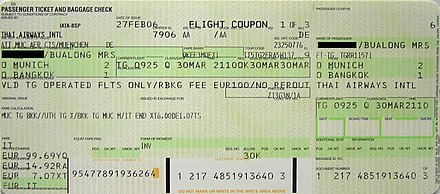 "An airline ticket showing the price in the ISO 4217 code ""EUR"" (bottom left) and not the currency sign EUR Flugschein.JPG"