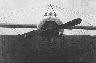 "Fokker E.IV - Fokker E.IV's three gun installation, seen ""nose-on""."