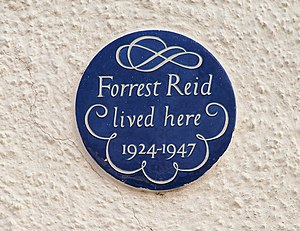 "Forrest Reid - A plaque reading ""Forrest Reid lived here 1924–1947"" on a house in Ormiston Crescent, Belfast."