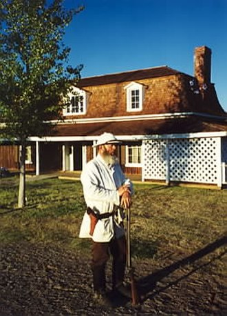 Fort Verde State Historic Park - Commanding officer's house and Dennis Lockhart portraying General Crook