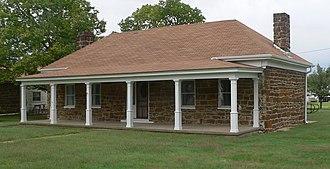 National Register of Historic Places listings in Ellsworth County, Kansas - Image: Fort Harker NE officer quarters from SE 1