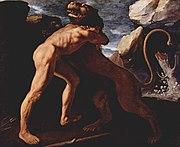 Potyczka lwa nemejskiego z Heraklesem