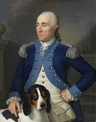 Scent hound - Franz Rudolf Frisching in the uniform of an officer of the Bernese Huntsmen Corps with his Berner Laufhund, painted by Jean Preudhomme in 1785