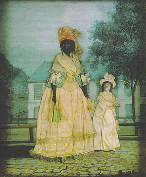 History of slavery in Louisiana - Free woman of color with quadroon daughter. Late 18th-century collage painting, New Orleans.
