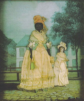 Free woman of color with quadroon daughter; late 18th century collage painting, New Orleans. Free Woman of Color with daughter NOLA Collage.jpg