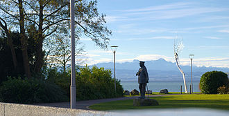 Friedrichshafen - Zeppelin-Statue at Graf Zeppelin House, Säntis in the background