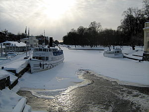 Fyris - The Fyris river in winter (February 2010) as seen from a bridge over it