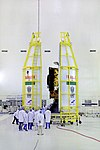 GSAT-7A spacecraft being encapsulated in payload fairing.jpg