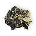 Garnet Group Andradite variety Melanite crystals on rock Iron calcium silicate near the Dallas Gem Mine, San Bnito County, California 2811.jpg