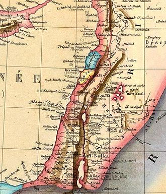 Mount Lebanon Emirate - Contemporary map showing the division between Maronites and Druze between 1840–60