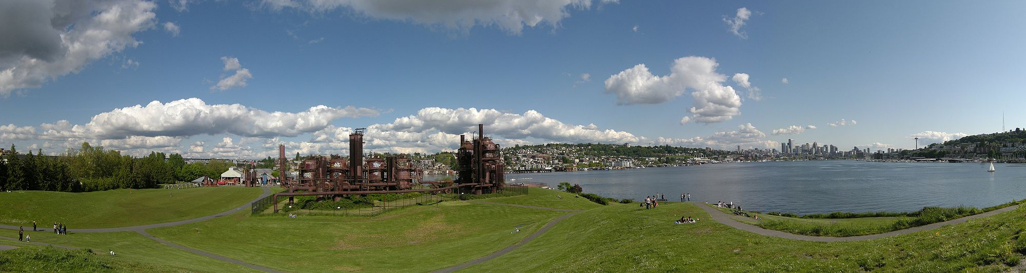 Gas Works Park and a view across Lake Union to Downtown.