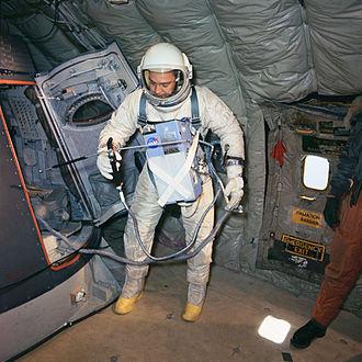 Clifton Williams - Williams training as Gemini 10 backup pilot aboard a KC-135 aircraft
