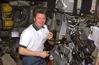 Gennady Padalka - Expedition 9 commander Gennady Padalka inside the Zvezda module of the ISS.