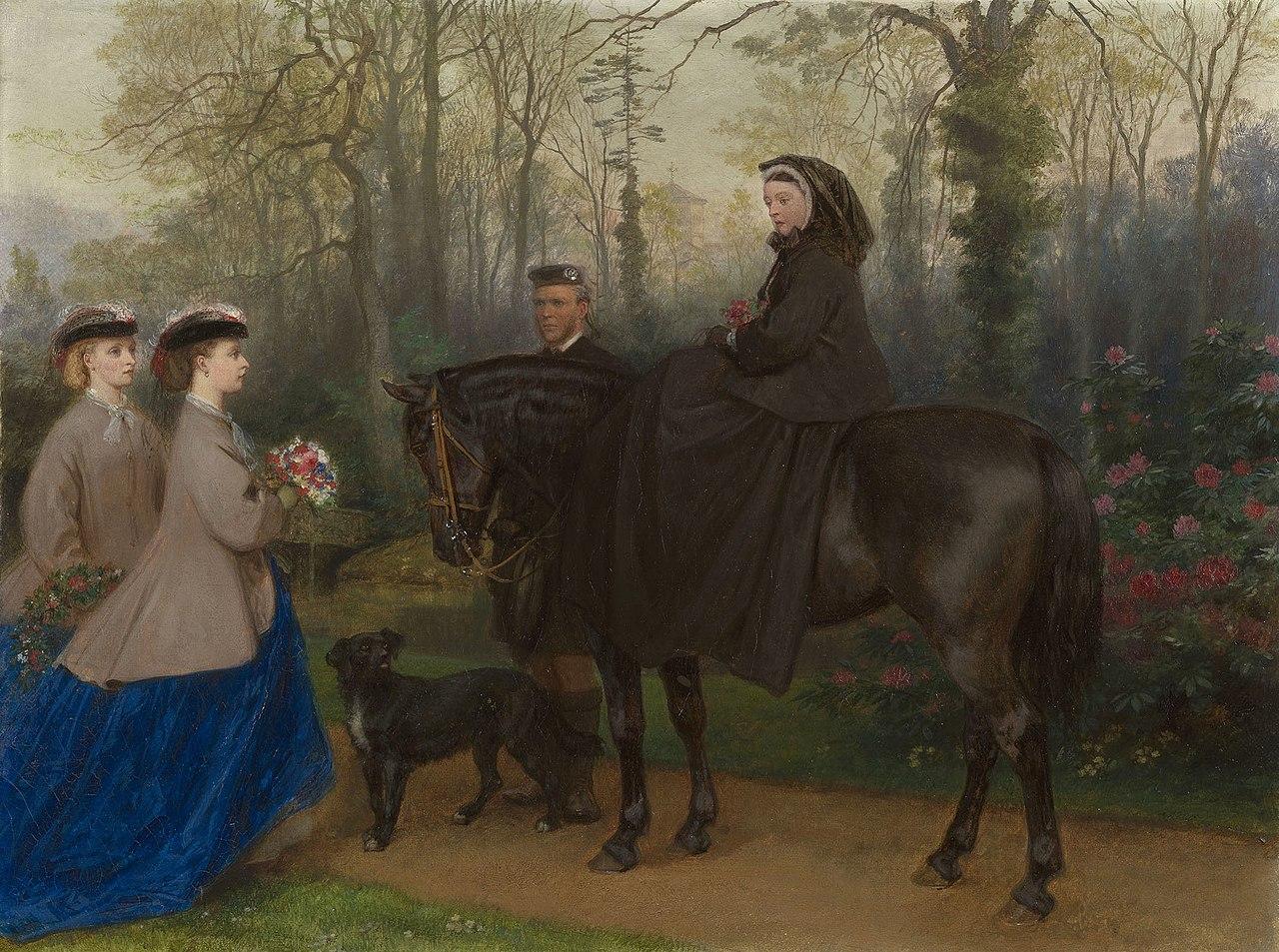Джордж Хаусман Томас (1824-68) - Посещение Королевского мавзолея, Фрогмор - RCIN 402504 - Royal Collection.jpg