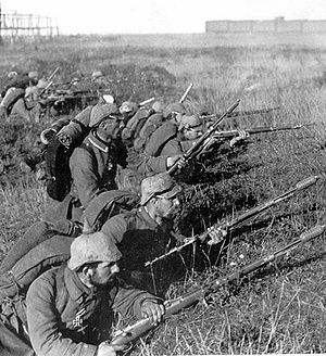 First Battle of the Marne - German soldiers (wearing distinctive pickelhaube helmets with cloth covers) on the front line at the First Battle of the Marne.