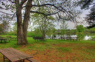 Council Grounds State Park - Picnic area by the lake, May 2014
