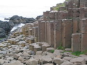 Columnar jointing in the basalt of the Giant's Causeway in Northern Ireland
