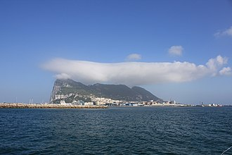 Levant (wind) - Levant cloud hanging over the Rock of Gibraltar.