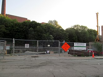 Gilman Square station - Construction at Gilman Square station site in July 2015