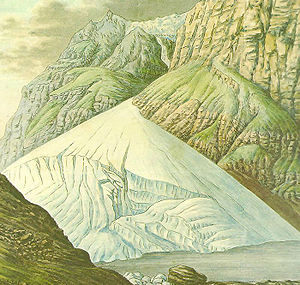 Giétro Glacier - The ice cone which obstructed the valley in 1818 (by Arnold Escher von der Linth)