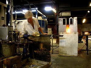 Studio glass - A vase being created at the Reijmyre glassworks, Sweden