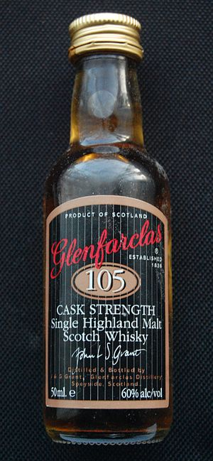 Miniature (alcohol) - A miniature (50 ml) of Glenfarclas 105 cask-strength whisky, (60% ABV). The bottle is 115 mm tall and 33 mm in diameter.