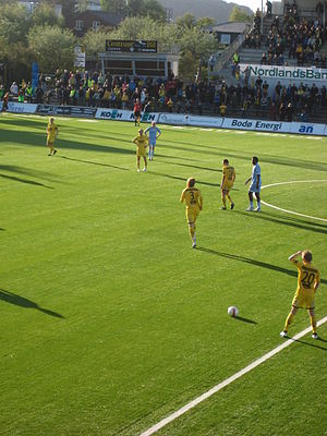 Olivier Occéan - Occéan (second from right) with Lillestrøm against FK Bodø/Glimt.