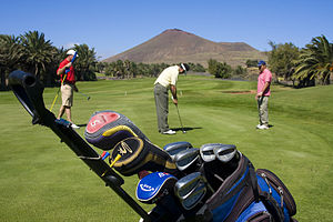 Golf equipment - Golf clubs in a golf bag. Background: a player uses a putter to roll the golf ball into the cup