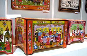 Gorodets painting - Gorodets painted caskets