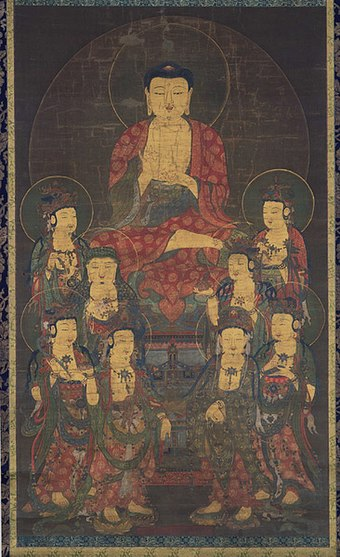 Amitabha and Eight Great Bodhisattvas, Goryeo scroll from the 1300s Goryeo Buddhist painting.jpg